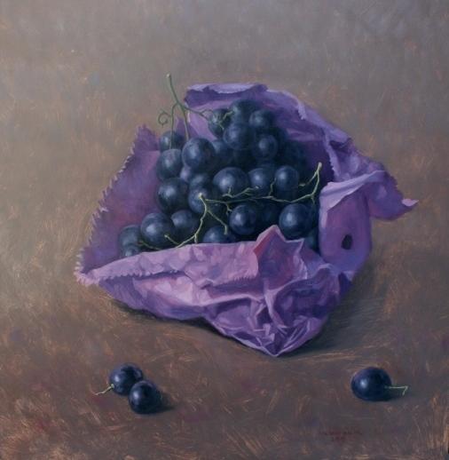 Paarse zak met blauwe druiven 2015 Menno Balm